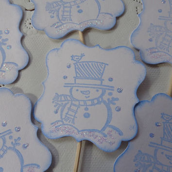 12 Snowman Cupcake Toppers - Glittering Snow Accents - Blue Snowmen Toppers - Food Picks - Party Picks - Christmas Party Decorations