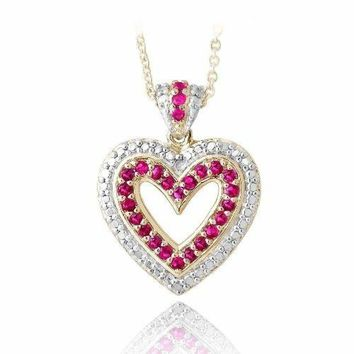 """18K Gold Plated Created Ruby & Diamond Accent Open Heart Necklace, 18"""""""