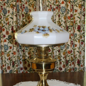 Antique Aladdin Brass Kerosene Lamp Lantern Number 23 Milk Glass Globe Mantle Hand Painted Tall Chimney Lighting Off The Grid Living