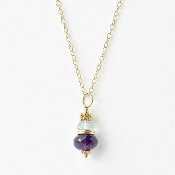 Amethyst Pendant / Blue Topaz Pendant / Gold Beaded Necklace / Multi Gemstone Pendant / Semiprecious Pendant / Gemstone Necklace