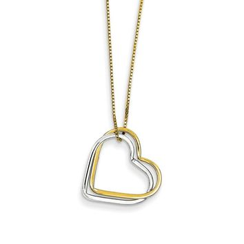 14k Two-Tone Gold Double Heart Pendant Necklace