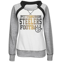 Women's Pittsburgh Steelers Majestic White/Gray Counter IV Crew Fleece Sweatshirt