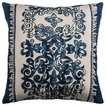 Rizzy Home Floral Navy Cotton 18-inch Square Throw Pillow | Overstock.com Shopping - The Best Deals on Throw Pillows