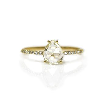 14kt Gold Diamond Angels Drop Ring
