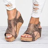 Cut Out Open Toe Retro Platform Women Wedge Sandals