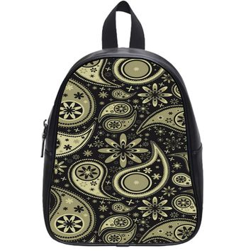 Brown Paisley School Backpack Small