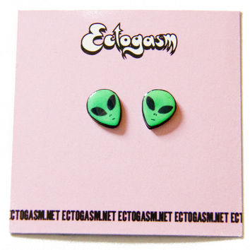 90s Grunge Alien Earrings in Green