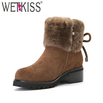 WETKISS 2017 Cow Suede Leather Wool Liner Warm Shoes Woman Zipper Snow Boots Thick Fur Winter Boots Women Chunky Heels Platform