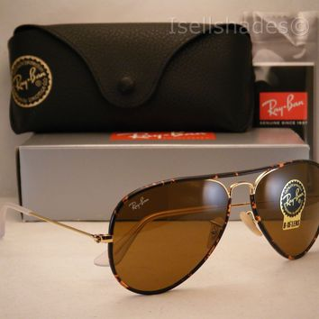 Ray Ban Aviator Full Color Tortoise/Gold w B-15 Lens (RB3025JM 001 58mm)