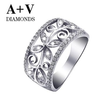 free shipping 18k white gold or rose gold nature diamond claasic butterfly ring for women engagement wedding party