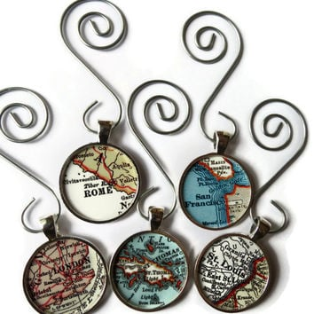 CUSTOM map ornament charms, map ornaments for the holiday personalized with a favorite location