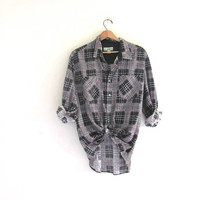 Vintage black 80s Haband Plaid Flannel / Grunge Shirt / cotton button up shirt