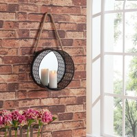 Pine Canopy Stanislaus Round Mirror Pillar Candle Sconce with Filigree Metal Frame and Hanging Rope | Overstock.com Shopping - The Best Deals on Mirrors