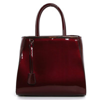 Metal Top Patent Satchel in Burgundy