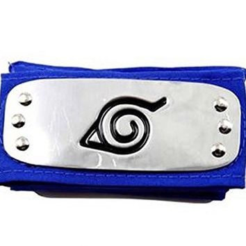 xcoser Naruto Headband Leaf Village Metal Plated Cosplay Accessories 7.3inches, silver blue