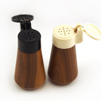 Retro salt and pepper shakers. wood plastic Western Germany, Thiew, DPuAP Vintage tableware 1970s