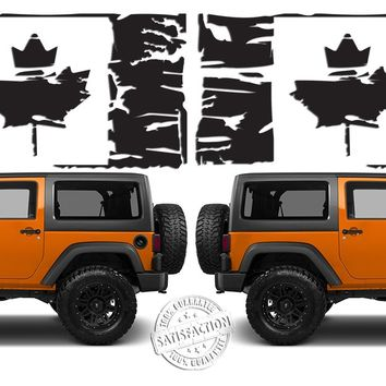 """(2) 6 or 12"""" Flag of Canada Grunge Maple Leaf Distressed Vinyl Decals fits: Jeep Wrangler"""