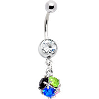 Clear Gem Multi Stone Twig Sphere Belly Ring | Body Candy Body Jewelry