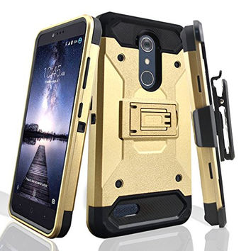 ZTE ZMax Pro Case, Blade X Max, ZTE Grand X Max 2 Case, ZTE Carry, ZTE Imperial Max / ZTE Max Duo LTE Heavy Duty[Built-in Kickstand] Rotating Swivel Clip Holster Case / Rugged Triple Layer Protection - Gold