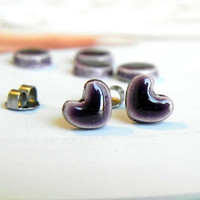 Royal Purple Heart Post Earrings Tiny Ceramic Studs Heartpottery Hypoallergical