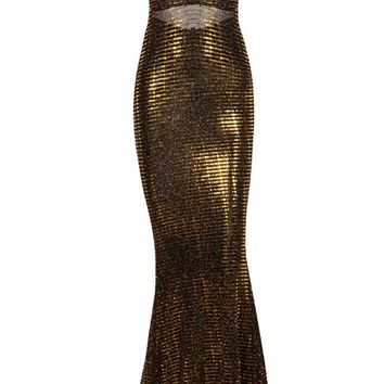 Strike It Rich Black Gold Sequin Sleeveless Spaghetti Strap Plunge V Neck Ruched Fishtail Mermaid Maxi Dress