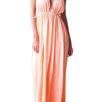 Coral V Neck Backless Slit Maxi Dress