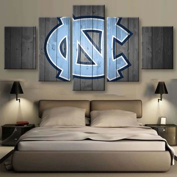 5 Pieces North Carolina Tar Heels Logo Painting Canvas Wall Art Picture Home Decoration Living Room Canvas Print Modern Painting
