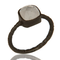 Black Rhodium Plated Sterling Silver Faceted Rainbow Moonstone Stacking Ring