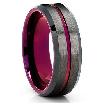 Purple Tungsten Ring - Purple Wedding Ring - Gunmetal Tungsten Ring - Brush