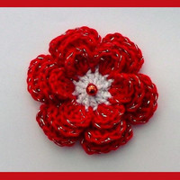 1 large crochet Christmas flower, appliques and embellishments