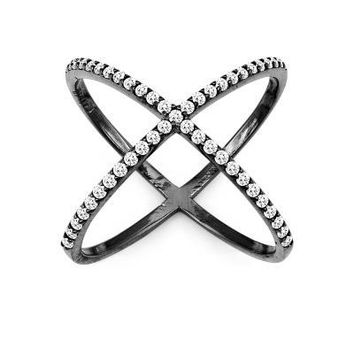 X Ring, Black with Clear CZ