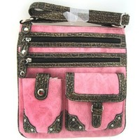Versatile Croco Trim Cross Body Hipster Purse Messenger Bag (Pink)