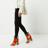 Orange tie up graphic heel sandals - sandals - shoes / boots - women