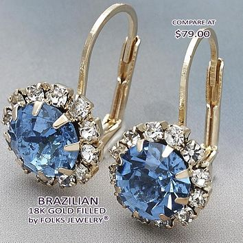Gold Layered Women Flower Leverback Earring, with Sapphire Blue Crystal, by Folks Jewelry