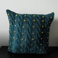 Pine green cable knit pillow cover with golden studs, decorative pillow case, housewarming gift, home interior, gift ideas, handmade knitted