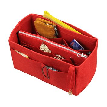 [Fits Neverfull PM / Speedy 25, Red] Felt Organizer (with Detachable Middle Zipper Bag), Bag in Bag, Wool Purse Insert, Customized Tote Organize, Cosmetic Makeup Diaper Handbag