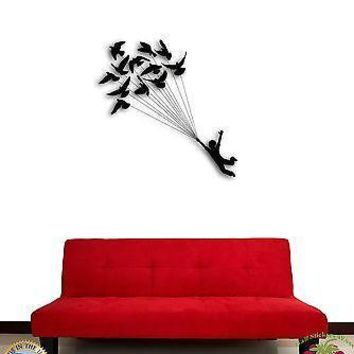 Wall Sticker Birds Flying Dream Cool Romantic Decor  Unique Gift z1339