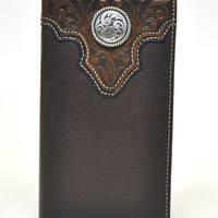 Ariat Rodeo Genuine Leather Western Men's Wallet w/Concho-Brown