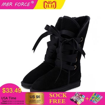 MBR FORCE Women Boots Winter Fashion Knee High Boot For Woman Warm Fur Furry Lady Snow Boots Australia Women ladies shoes US3-13