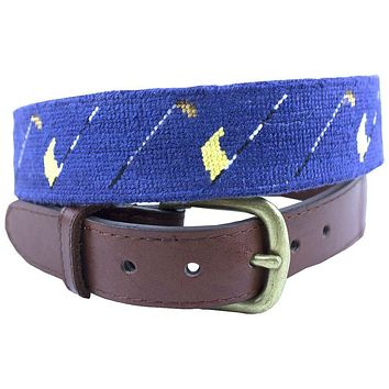 Golf Flags Needlepoint Belt by Smathers & Branson