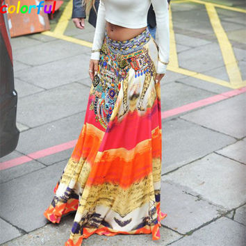 2016 Women Bohemia Long Skirt New Fashion Casual Pleat Vintage Print Maxi Skirts High Waist Slit Skirt Saia Femininas SK053