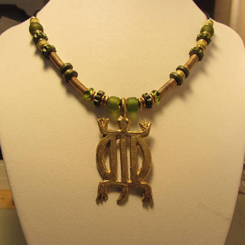 Ghana Brass Turtle Pendant With Greek Ceramic, American Glass, Leather Cord and Turkish Gold Dipped Clasp - 20 1/4""