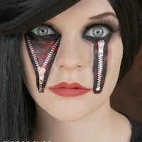 Zipper Eyes - Temporary Tattoos - Costume Halloween 2013, Horror Tattoos