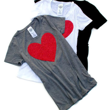 All You Need is Love - Sequin Heart Patch Tee