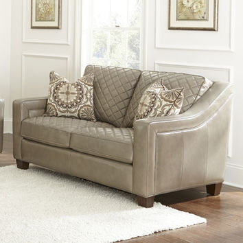 Steve Silver Wellington Loveseat w/2 Accent Pillows in Akron Fog Leather