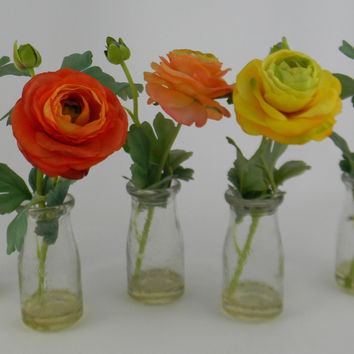 Set of Five Artificial Silk Flower Arrangements Ranunculus (Roses) in Vintage Repro Glass  Milk Bottles