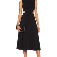 Cut Out A Line Poly-Blend Dress in Black