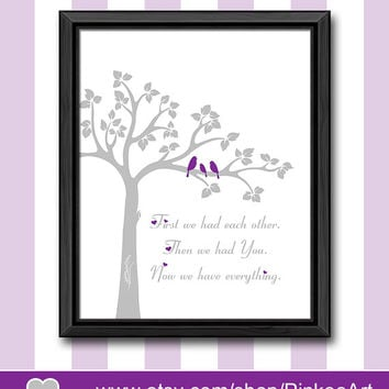 baby shower gift purple gray new baby decor first we had nursery poster baby girl nursery ideas bird family in a tree nursery girl wall art