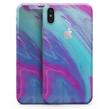 Marbleized Pink Ocean Blue v32 - iPhone X Skin-Kit