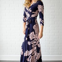 Navy-Blue-Pink-Printed-Draped-Maternity-Maxi-Dress